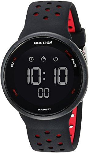 Armitron Sport Unisex 40/8423BRD Red Accented Digital Chronograph Black Silicone Strap Watch