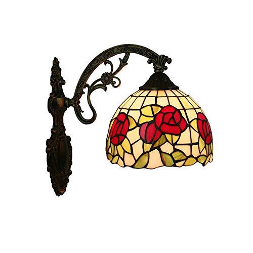 TINE Tiffany Lámpara de Pared Aplicaciones Accesorio de iluminación de Vidrio Dormitorio de la Pared de la Pared de la Pared del Espejo del Dormitorio Dormitorio con decoración de Rosa roja