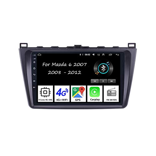 Android 10 Radio De Coche 9 Pulgadas Pantalla Táctil Reproductor De Mirror Link para Mazda 6 2007-2012 Coche Conecta Y Reproduce Coche Audio FM/Am/RDS Video SWC Cámara Trasera,8 Cores 4G+64G