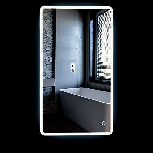 Turefans Increíble Espejo de iluminación para baño, Interruptor de Toque Espejo, protección del Medio Ambiente y Ahorro de energía, 5050LED Blanco, Nuevo listado, Esquinas Redondeadas (70 * 120 cm)