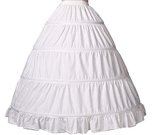 Reifrock Mädchen Petticoat Kinder 100% Baumwolle A Linie Lang Unterrock Ivory 2 3 4 Ringe Für Blumenmädchen