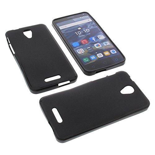 foto-kontor Tasche für Alcatel One Touch Pop 4 Plus Gummi TPU Schutz Hülle Handytasche schwarz