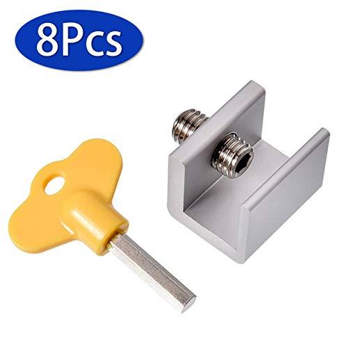 ZunBo Juego de 8 cerraduras ajustables Cerradura de seguridad para ventana corredera, marco de puerta con cerradura de aleación de aluminio, con cerradura de seguridad y llaves
