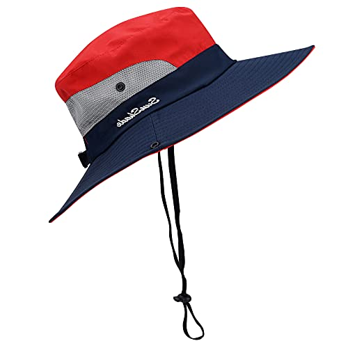Sowift Womens Ponytail Sun Hats UV Protection Outdoor Wide Brim Foldable Beach Caps Mesh Fishing Hats Red