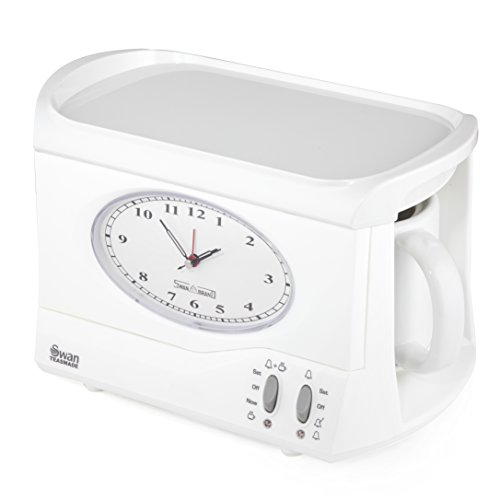 Swan STM201N Vintage Teasmade - Rapid Water Boiler with Clock and Alarm Featuring a Clock Light with Dimmer and a 600ml Water Tank, 780-850W, White
