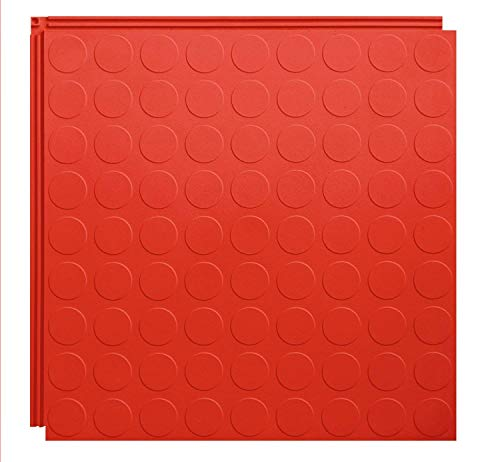 Resilia Flexible Interlocking Snap Floor Tiles – Protective Flooring for Your Garage, Home, Office or Gym, Red Color, Coin Texture, 12-inch, 0.25-inch, 10 Pack