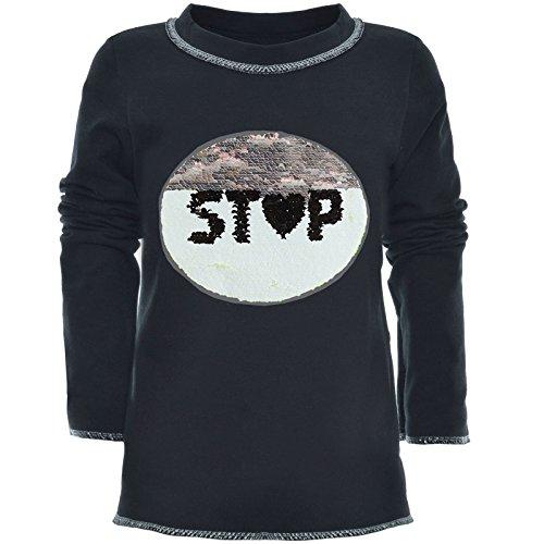 BEZLIT Mädchen Wende-Pailletten Long Shirt Bluse Langarm Sweat Shirt 21008 Schwarz Größe 152