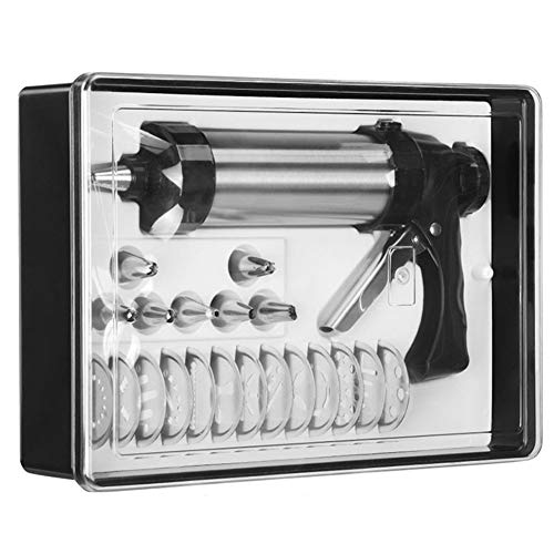 Cookie Press Gun Kit for DIY Biscuit Maker and Decoration with 8 Icing Nozzles and 13 Molds