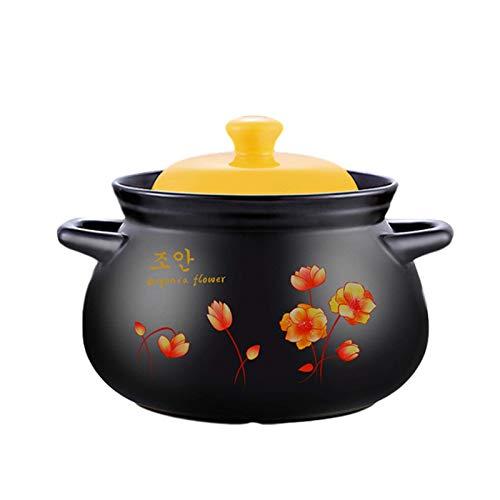 TELLMNZ Ton-Auflauf-Topf Terrakotta-Eintopf Keramik-Auflauf-Ton-Kochtopf - Hochtemperaturbeständigkeit, Wärmespeicherung, verbesserte Ernährung und köstliche S-Kapazität 2,8 l