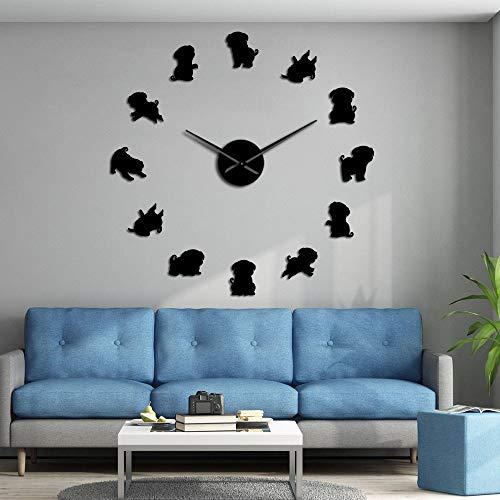 RRBOI Carlin Miroir Surface Stickers Race De Chien Dutch Mastiff Moderne Décoratif Silencieux Horloge Murale 3D DIY Grande Montre Carlin Cadeaux (Noir)-37inch