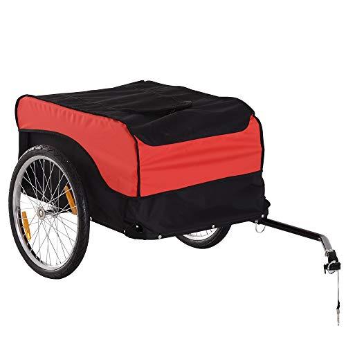 HOMCOM 130 × 77 × 65 cm Carrello per bici Rimorchio per bicicletta Rosso/Nero
