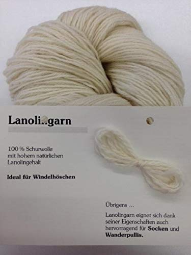 100 g Strang naturbelassenes Lanolingarn, Fettwolle, reine Schurwolle, für Windelhöschen, Heilwickel, Socken, Wanderpullis (EUR 6,90/100g)
