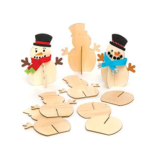 Baker Ross 3D Schneemann aus Holz (6 Stück) Bastelset für Kinder zu Weihnachten