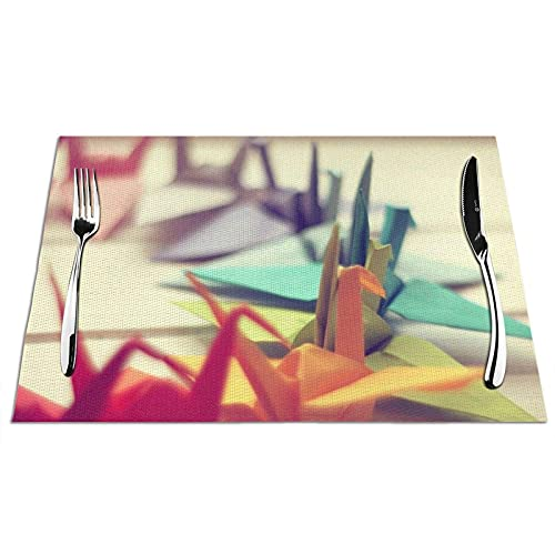 Manteles Individuales Manteles de Mesa de PVC Patrón de pájaro de Origami Manteles Individuales Antideslizantes Resistentes al Calor para Cocina Comedor Restaurante Juego de 6