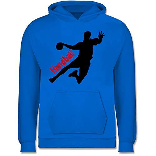 Sport Kind - Handballer mit Schriftzug - 140 (9/11 Jahre) - Himmelblau - Handball Kinder Pullover - JH001K JH001J Just Hoods Kids Hoodie - Kinder Hoodie