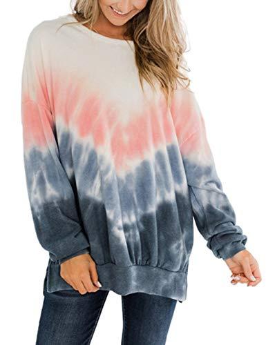 SEBOWEL Farbverlauf Sweatshirt Damen Tie Dye Oberteile Langarmshirt (S, Rosa)