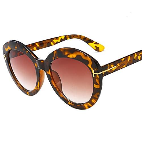 JINZUN Gafas de Sol de Moda Tendencia Gafas de Sol de Montura Redonda Montura Grande Visera de Sol Gafas Anti-UV Estampado de Leopardo