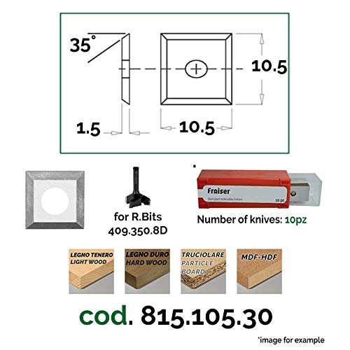 Cuchillas para Fresa HM - 4 Cortes [cuadrado] - L=10.5 x 10.5 K=1.5 - Fresas para Madera & Fresadoras | Fraiser