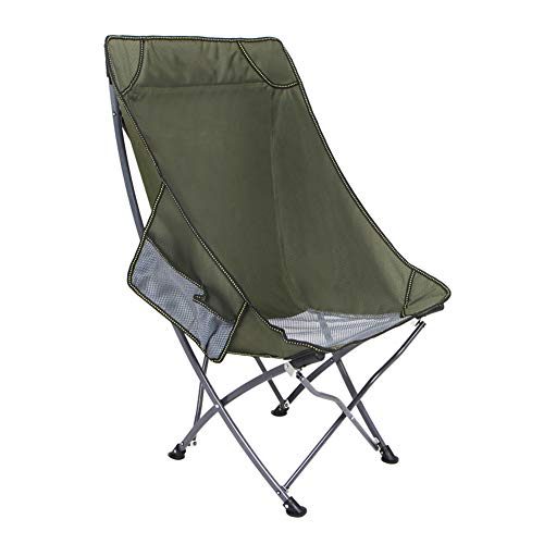 Outdoor Camping Chair,Portable Backrest Stool Art Sketching Beach Chair,with Pocket and Carry Bag Portable Compact Folding Fishing Lunch Break-green