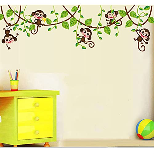 Etiqueta engomada de la pared estéreo, lindos monos monos pegatinas de pared, calcomanías de arte de los niños, para animales 3d plantas de papel tapiz de papel tapiz de papelería sala de viveros Deco