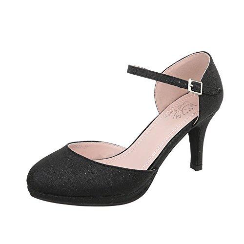Ital-Design Schnür- & Riemchenpumps Damen-Schuhe Schnür- & Riemchenpumps Pfennig-/Stilettoabsatz High Heels Schnalle Pumps Schwarz, Gr 38, 5015-20-