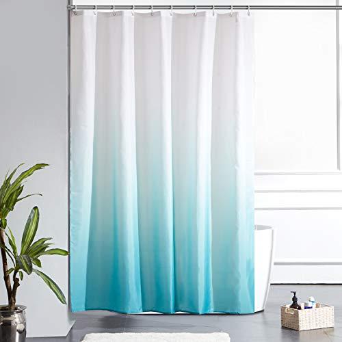 Furlinic Duschvorhang Badvorhang Textil aus Polyester Stoff Schimmelresistent Wasserdicht Waschbar für Dusche Badewanne 150x180 Weiß nach Aquamarine mit 10 Duschvorhangringen.