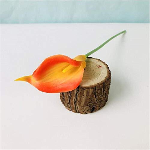 1PC PU Tulpen Künstliche Blumen Calla Echte Berührung Künstliche para Decora Mini Tulpe Calla Für Zuhause Hochzeitsdekoration Blumen, Eine Orange Calla