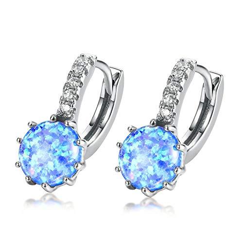 HoopsEarringsForWomen,Boho 925 Silver Blue Fire Opal Drop Hoop Piercing Earrings Hypoallergenic Lightweight Hoop Ring Circle Jewelry Earrings For Women Girls Party Wedding