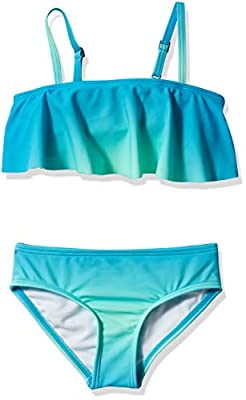 Kanu Surf Girls' Karlie Flounce Bikini Beach Sport 2-Piece Swimsuit, Janie Blue, 5