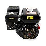 Motor de gasolina de 5100 W, 4 tiempos, 7,5 hp, 3600 rpm, motor de enfriamiento por aire, motor de arranque de cuerda, motor de cambio con alarma de aceite (negro)