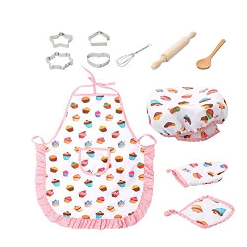 LjzlSxMF Niños Lindo cocinar y Hornear Conjunto Chef Kids Juegos de rol para Hornear Chef Qquipment Incluyendo Delantal Sombrero Utensilios 11 Piezas