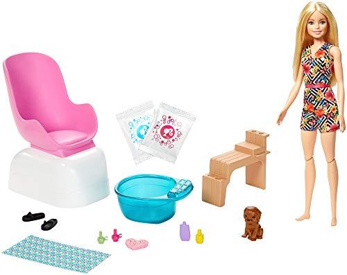 Barbie- Conjunto de Juego SPA y salón de Belleza, muñeca Rubia, Perrito, Paquetes de Polvo y Efectos de Cambio de Color (Mattel GHN07)