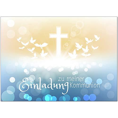 15 x Einladungskarten Kommunion mit Umschlag/Viele Tauben moderner Look/Kommunionskarten/Einladungen zur Feier