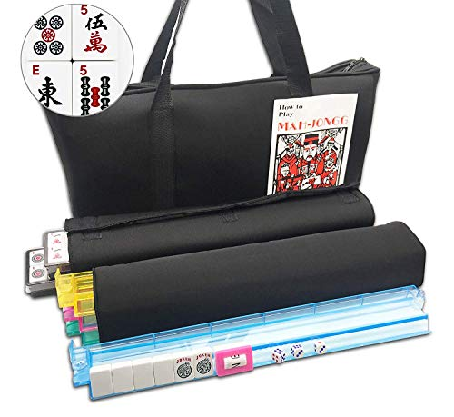 166 Tiles American Mahjong Set Black Soft Bag 4 Color Pushers/Racks Easy Carry Western Mahjongg