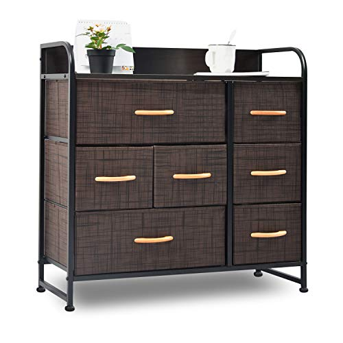 charaHOME Drawer Dresser(Brown) Dresser Organizer with 7 Drawers, Fabric Dressers for Bedroom, Storage Tower for Hallway, Entryway, Closets, Sturdy Steel Frame, Wood Top & Handles