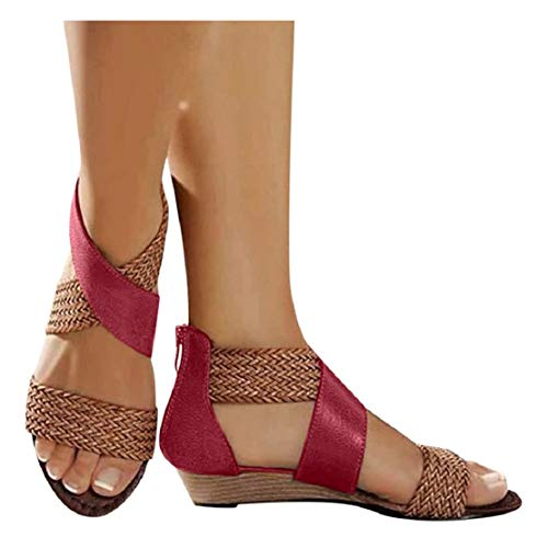 LowProfile Women Weave Sandals Wedge Heel Back Zipper Leather Cross Strap Shoes Casual Beach Wedge Stacked Heeled Sandals Red