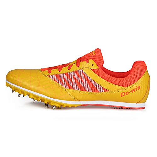 ZLYZS Zapatos De Atletismo, Zapatillas De Deporte con 7 Clavos Zapatillas De Entrenamiento Zapatillas De Atletismo De Salto Ligeras para Jóvenes/Niños/Niños Y Niñas,Amarillo,EU43