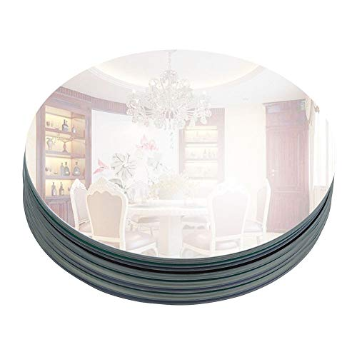 """Murrey Home 10"""" Round Mirror Tray for Wedding Decorations/Decor, Candle Tray/Plate for Baby Shower, Parties Centerpieces, Set of 12, 2mm"""