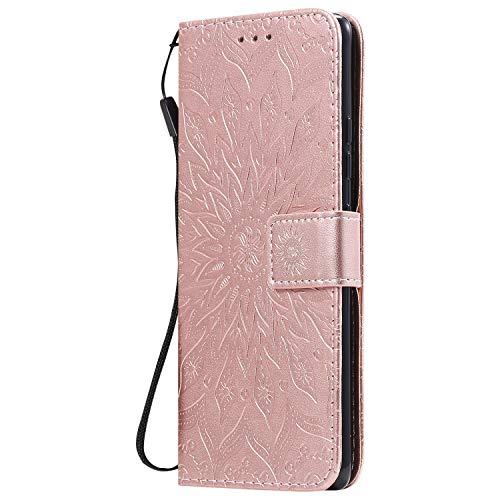 KKEIKO Hülle für Galaxy Note 10 Lite, PU Leder Brieftasche Schutzhülle Klapphülle, Sun Blumen Design Stoßfest HandyHülle für Samsung Galaxy Note 10 Lite - Roségold
