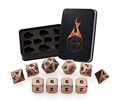 Forged Dice Co. Metal Dice Set - Polyhedral Dice Set of 10 with Dice Storage Tin and Stickers - Metal DND Dice and Gaming Dice for Dungeons and Dragons RPG Games from 2Fold Supply