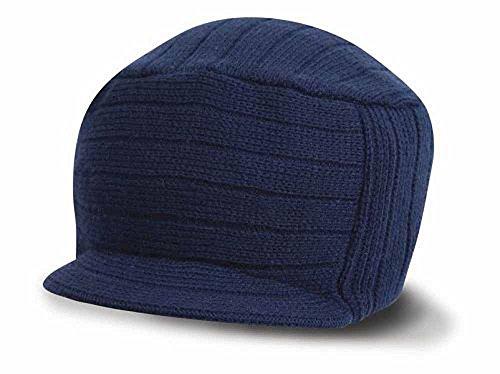 Result - Bonnet Casquette visière RC061 - Laine Mixte Adulte - Coloris Bleu Marine