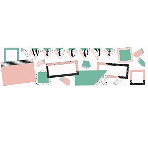 Eureka ''Welcome'' Pink and Green Confetti Pattern Back to School Bulletin Board Set and Classroom Decorations for Teachers, 22pcs, Simply Sassy - Welcome