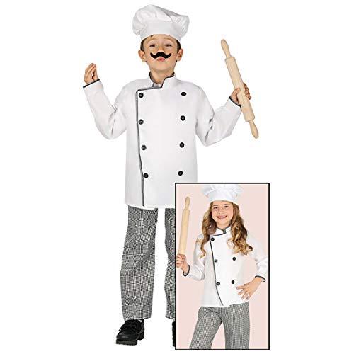 Amakando Divertido Disfraz Infantil Chef/Blanco-Negro 10-12 aos, 142-148 cm/Disfraz de Panadero para nios y nias/Insuperable para Festival Infantil y Fiesta temtica