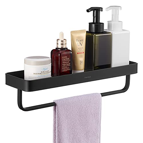 Henitol Tempered Glass Bathroom Shelf, 15.6 Inch Adhesive Bathroom Floating Shelves Shower Storage No Drill or Wall Mounted with Screws (Black with Towel Bar)