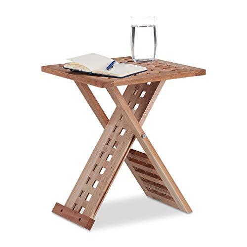 Relaxdays Table d'appoint pliante table basse bois de noyer table de chevet salon HxlxP: 40,5 x 33 x 33 cm, nature