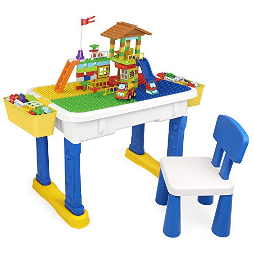 Kids Multi Activity Table Chair Set with Building Blocks, Exercise N Play Toddlers Play Desk with Storage Box for Boys Girls Entertainment Study Dinner (Blue)