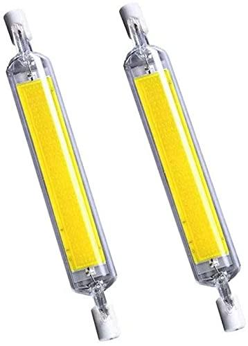 WEWQ 10W 118mm R7S Bulbos LED (2 Pack) 150W Halógena Enquivalente J-Type 120V Dimmable T3 R7S Base Doble Luz de inundación T3 R7S Luz de inundación 3000K Blanco cálido para la luz del Paisaje-Blanco