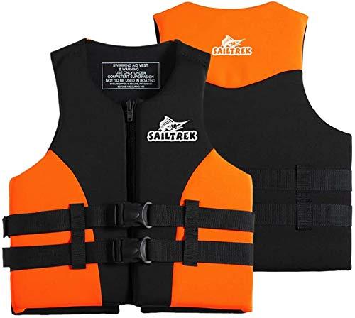 FR&RF Chaleco de Vida Neopreno Pesca Jacket Watersports Kayaking Boating Drifting Life Chaleco para Adultos,Naranja,L