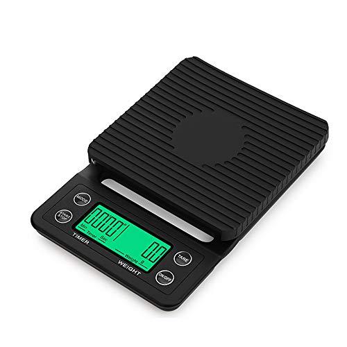 Báscula digital de café con temporizador, pantalla LED eléctrica, báscula de cocina con función de tara, pilas no incluidas (3 kg/0,1 g)