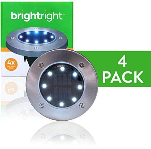 BRIGHTRIGHT - Outdoor Solar Disk Lights - 8 LEDs - Waterproof Landscape Lighting - Yard, Garden, Patio, Lawn, Deck, Pathway, Driveway - Dusk to Dawn - White (4 Pack)